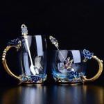 Handmade Enamel Butterfly Rose Cup (Various Designs)