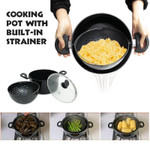 Cooking Pot With Built-In Strainer - Helper For Kitchen
