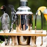 Cocktail Shaker Set Wooden Holder Bartender Kit Mixer 350ml 8pcs