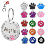 Stainless Steel Engravable Paw Id Tag For Dogs Name On Dog Collar