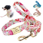 Nylon Printed Dog Collar Leash Set With Engravable Nameplate For Small Medium Large Dogs