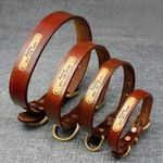 Genuine Leather Small Medium Dog Collar With Personalized Engravable Id Tag