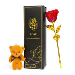 24K Gold Plated Rose & Bear Gift Set