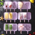 Silicone Ice Cream Mold Reusable Popsicle Molds DIY Homemade Cute Cartoon Ice Cream Popsicle Ice Pop Maker Mould