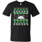 Drums Drummer Ugly Christmas Men V-Neck T-Shirt