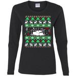 Drums Drummer Ugly Christmas Women Long Sleeve Shirt