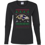 Baltimore Ravens Logo Football Teams Ugly Christmas Sweater Women Long Sleeve Shirt
