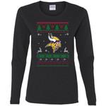 Minnesota Vikings Logo Football Teams Ugly Christmas Sweater Women Long Sleeve Shirt
