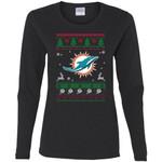 Miami Dolphins Logo Football Teams Ugly Christmas Sweater Women Long Sleeve Shirt