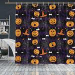 Halloween Pumpkin Ghost Shower Curtain