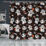 Crockcool Halloween Pumpkin Ghost Shower Curtain