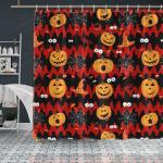 Crockcool Halloween Pumpkin Ghost Shower Curtain Red