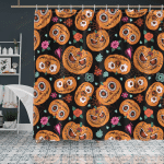 Crockcool Halloween Pumpkin Orange Shower Curtain