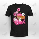 In October We Wear Pink Ghosts & Pumpkins Breast Cancer Awareness T-Shirt