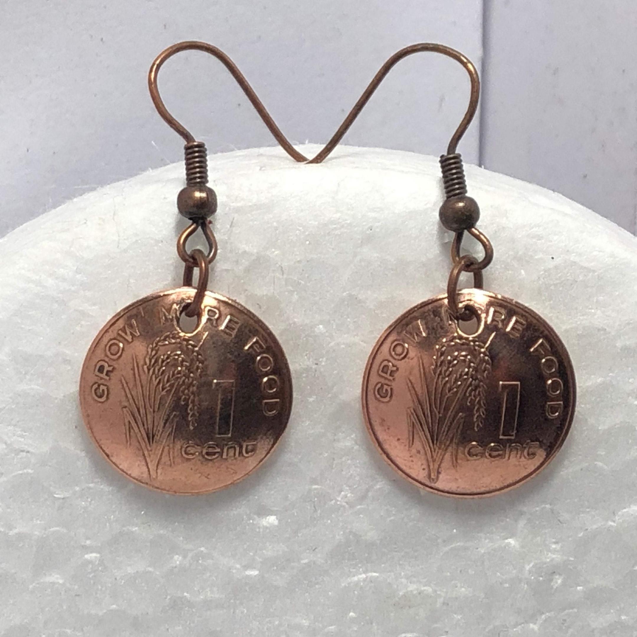 Fiji Handmade Jewelry - Grow More Food 1 Cent Coin Earrings