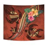 Polynesian Turtle Tapestry - Tribal Tattoo with Hibiscus Coral K4 - 1st New Zealand