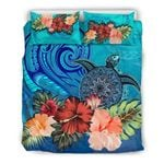 Turtle And Hibiscus Bedding Set Polynesian Blue TH5 - rugbylife.co