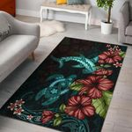 Polynesian Area Rug Turtle And Shark- Hibiscus Turquoise TH5 - 1st New Zealand