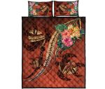 Polynesian Turtle Quilt Bed Set - Tribal Tattoo with Hibiscus Coral K4 - rugbylife