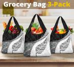 Paua Shell Maori Silver Fern Grocery Bag 3-Pack White K5