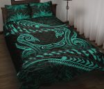 Aotearoa Quilt Bed Set Turquoise Maori Manaia with Silver Fern TH5 - rugbylife