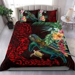 Tiki Polynesian Bedding Set Turtle Hibiscus - Red K4 - rugbylife.co