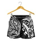 New Zealand All Over Print Women's Shorts, Maori Polynesian Tattoo White TH4 - 1st New Zealand