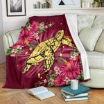 New Zealand Premium Blanket - Turtle Polynesian Hibiscus A24 - 1st New Zealand