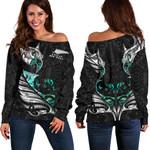 New Zealand Off Shoulder Sweater Manaia Paua Fern Wing - White K4 - 1st New Zealand