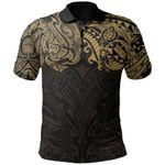 New Zealand Polo Shirt, Maori Polynesian Tattoo Gold TH4 - 1st New Zealand
