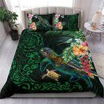 Tiki Polynesian Bedding Set Turtle Hibiscus - Green K4 - rugbylife.co