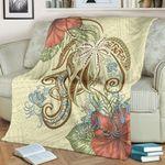Polynesian Tribal Turtle Flowers Blanket Canary K5 - 1st New Zealand