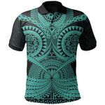 Polynesian Tattoo Print Polo Shirt Turquoise 2 TH5 - 1st New Zealand