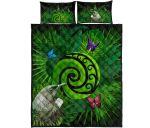 New Zealand Quilt Bed Set Koru Fern Mix Tui Bird - Tropical Floral K4 - rugbylife