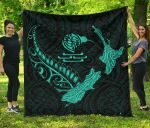 New Zealand Heart Premium Quilt - Map Kiwi mix Silver Fern Turquoise K4 - rugbylife