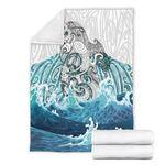 Maori Manaia The Blue Sea Premium Blanket, White K5 - 1st New Zealand