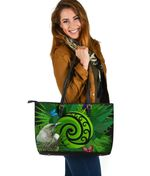 New Zealand Large Leather Tote Koru Fern Mix Tui Bird - Tropical Floral K4 - 1st New Zealand