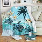 New Zealand Premium Blanket - Blue Turtle Hibiscus A24 - 1st New Zealand