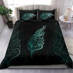 Light Silver Fern New Zealand Bedding Set - Turquoise K5 - rugbylife.co