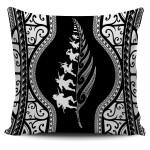 New Zealand Haka Fern Pillow Cover White K4