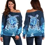 Polynesian Turtle Hibiscus The Blue Sea Off Shoulder Sweater K5 - 1st New Zealand