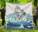 Maori Manaia The Blue Sea Premium Quilt, White K5 - rugbylife