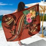 Polynesian Turtle Sarong - Tribal Tattoo with Hibiscus Coral K4 - 1st New Zealand