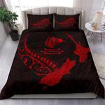 New Zealand Heart Bedding Set - Map Kiwi mix Silver Fern Red K4 - rugbylife.co