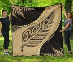 Paua Shell, Maori Silver Fern Premium Quilt K5 - rugbylife