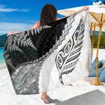 Paua Shell Maori Silver Fern Sarong White K5
