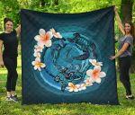 New Zealand Premium Quilt, Blue Plumeria Animal Turtle Tattoo A24 - rugbylife