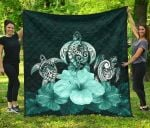 Polynesian Premium Quilt Turtle And Hibiscus Turquoise TH5 - rugbylife