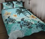 New Zealand Quilt Bed Set - Blue Turtle Hibiscus A24 - rugbylife
