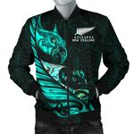 New Zealand Bomber Jacket for Men Manaia Paua Fern Wing - Turquoise K4 - 1st New Zealand